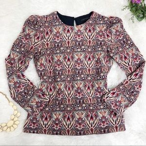 Zara Tapestry Top Red Blue Gold Textured Top